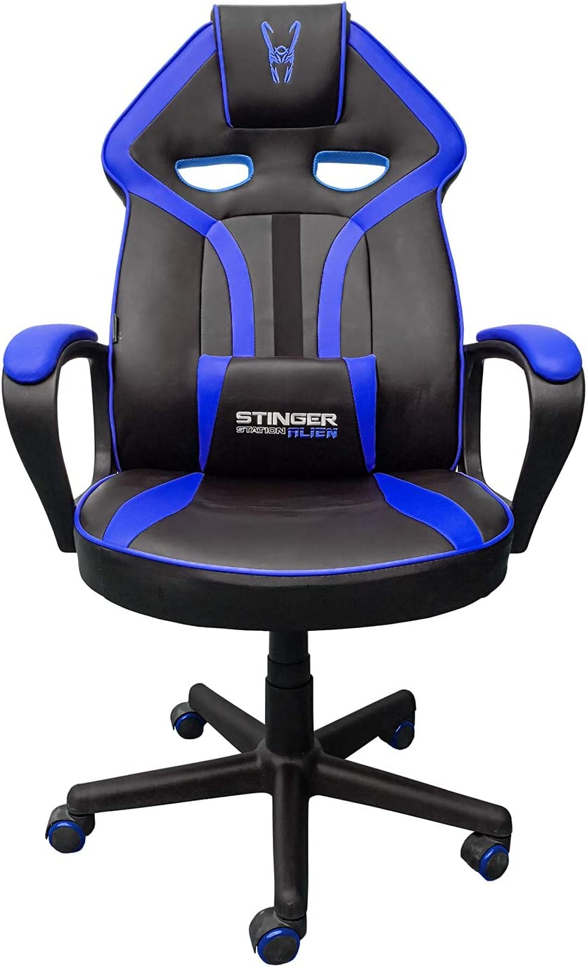 Stinger Woxter Station Alien V2.0 Blue - Silla Gaming (Eje de Acero, Levantamiento (Gas Pistón Clase 4), Ergonómica, Reposabrazos Acolchados, Altura Ajustable, Ruedas antiarañazos y Cojín Lumbar)