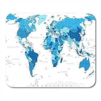 N\A Semtomn Gaming Mouse Pad España Azul Mapa del Mundo Grande Detallado África América Asia Atlántico Decoración Oficina Antideslizante Respaldo de Goma Mousepad Alfombrilla de ratón: Amazon.es: Electrónica