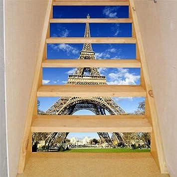 qingmo Pegatinas De Escalera 3d Torre Eiffel Impermeable Autoadhesivo DecoracióN Del Hogar Diy Mural Vinilo Adhesivos Para Escaleras 18cmx100cm 6pcs: Amazon.es: Bricolaje y herramientas