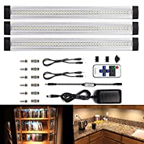 LEBRIGHT LED Under Cabinet Light Dimmable 12-inch Ultra Thin Under Counter Lighting with Remote Control , 3pcs 4W Panels kit, Total of 12W,1100LM,LED Closet Lighting
