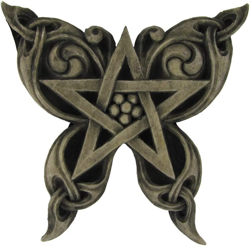 Butterfly Pentacle Wall Plaque Stone Finish