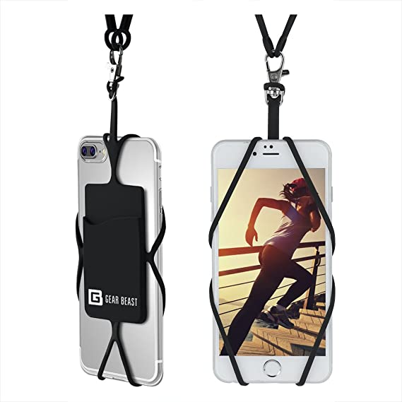 los angeles 646a7 5d348 Gear Beast Universal Cell Phone Lanyard Compatible with iPhone, Galaxy &  Most Smartphones Includes Phone Case Holder with Card Pocket, Silicone Neck  ...