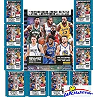 2019/20 Panini NBA Basketball Stickers Special Collectors Package with HUGE 72 Page Collectors Album, 60 Brand New Stickers & 10 Cards! Look for Cards & Stickers of Top NBA Superstars & RCs! WOWZZER!
