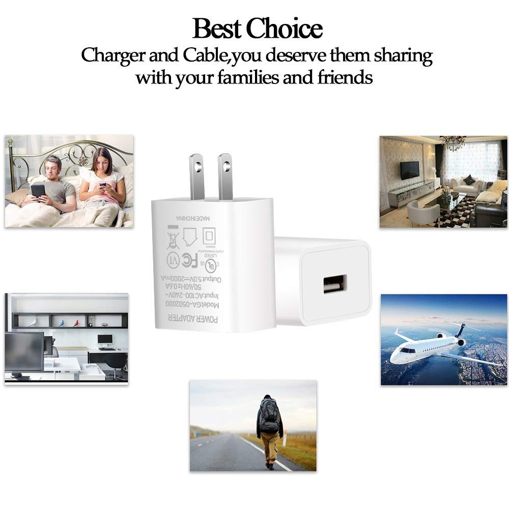 """Fire Phone Kids Edition,Kindle Fire HD HDX 7/"""" 8.9/"""" White CTREEY AC Adapter 2A Rapid Charger with 5.0 Ft Micro-USB Cable for  Kindle Fire 7 HD 8 10 Tablet Kindle Fire Fast Charger UL Listed"""