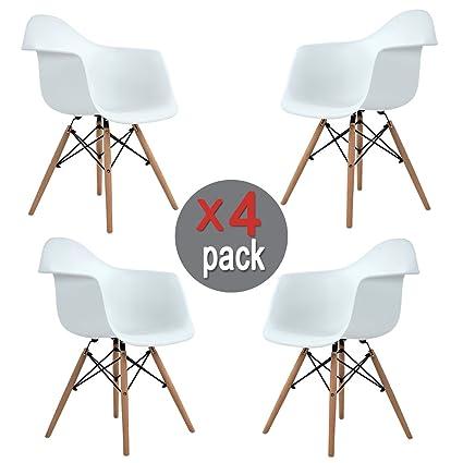 Aingoo Eiffel Kitchen Chair Molded Dining Armchair Mid Century Plastic Side  Chair Dowel Wood Eiffel Legs