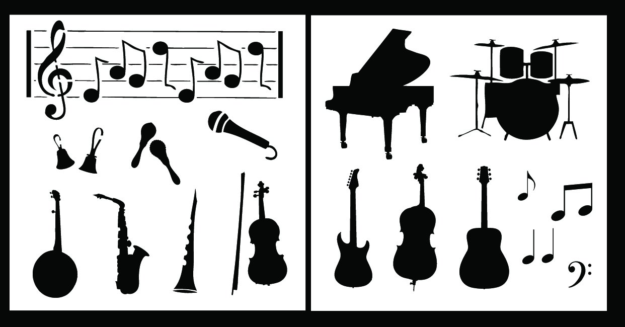 Auto Vynamics - STENCIL-MUSICSET01-20 - Detailed Musical Instruments Stencil Set - Features Rock & Band/Orchestra Instruments! - 20-by-20-inch Sheets - (2) Piece Kit - Pair of Sheets