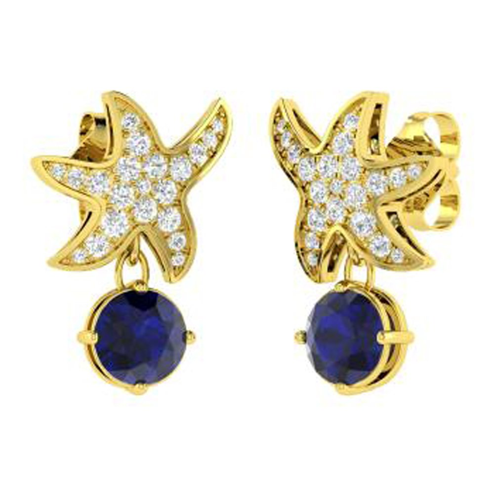 Ringjewels Starfish Drop Earrings 1.59 Ct Round Cut Sapphire /& Sim Diamond In Solid 14K Gold Plated 925