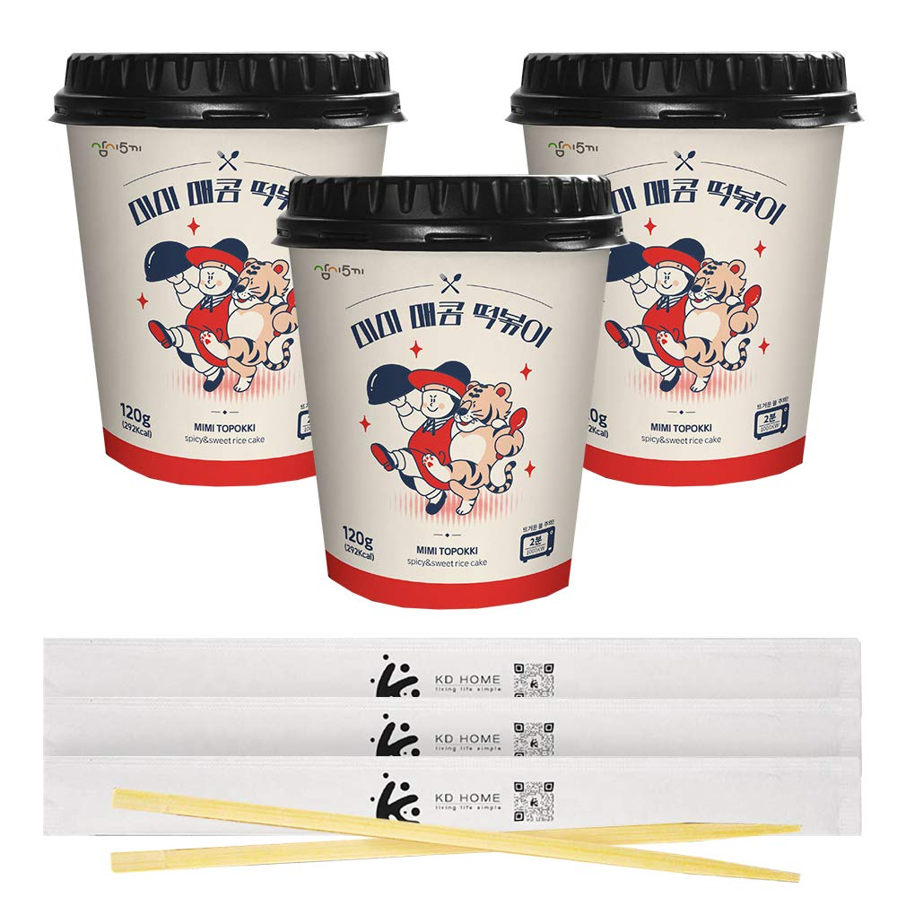 MIMI Tteokbokki Sweet & Spicy Authentic Korean Flavor Rice Cake Instant 떡볶이. 120g (4.23oz), Pack of 3, One Serving Per Container. Perfect Snack That Can be Ready in just 2 Minutes