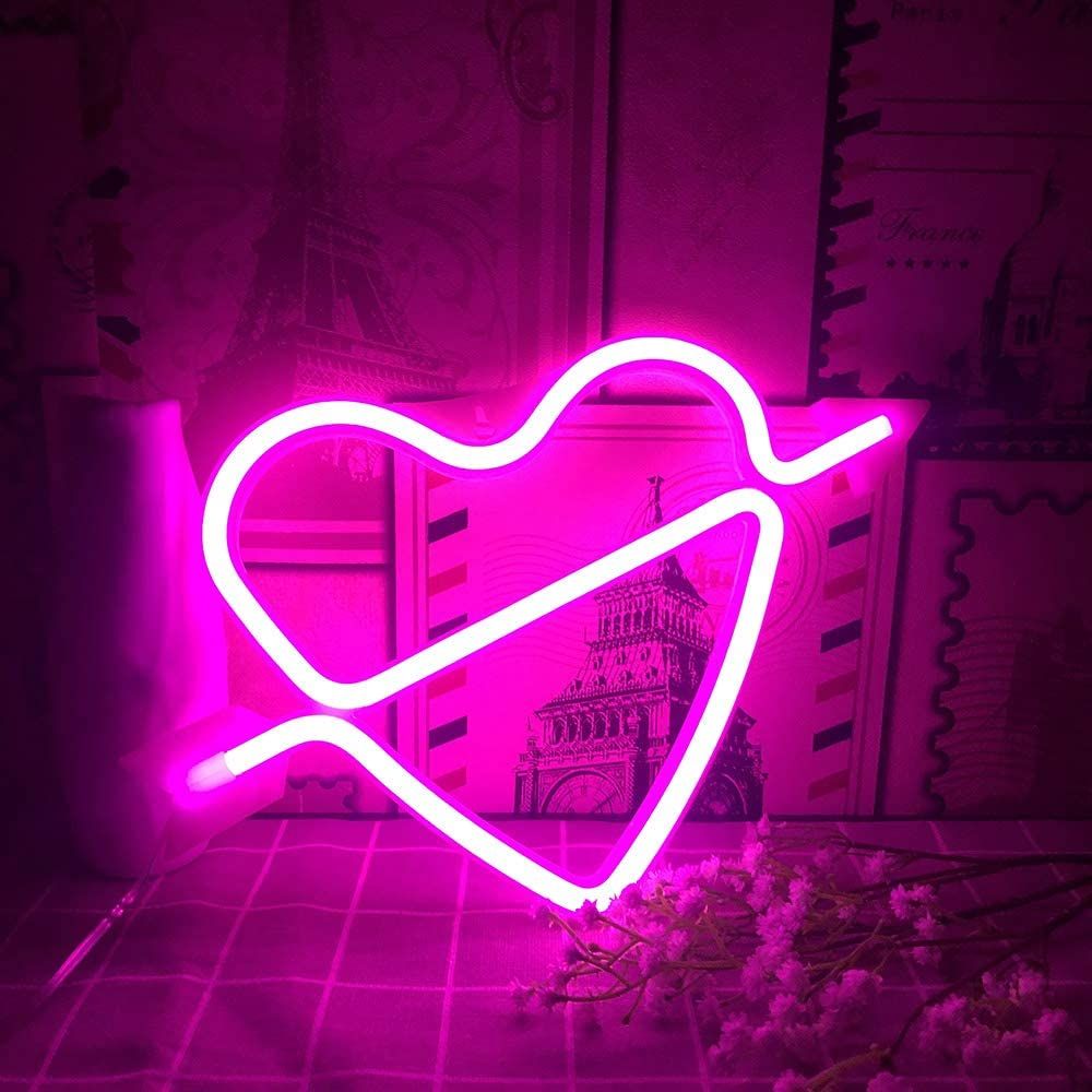 Heart Neon Signs for Wall Decor Pink Heart Kids Room Decor Neon Signs for Teen Girl Bedroom Guys Gaming USB Battery Operated Neon Night Light Home Christmas Halloween Black Friday Party Supplies