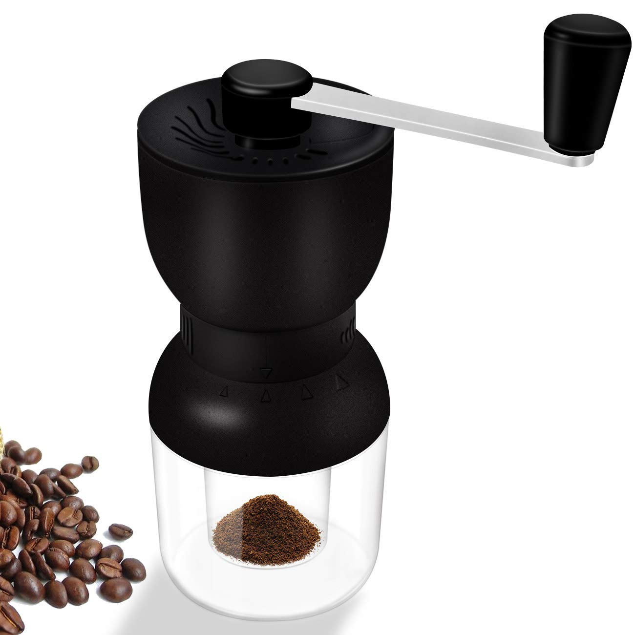 Manual Coffee Grinder, LHS Ceramic Coffee Mill Fine Conical Ceramic Burrs Black,2 Size Clear Glass Jars Infinitely Adjustment Nut Grind Removable Hand Crank Coffee Mill Quiet and Portable for Travel