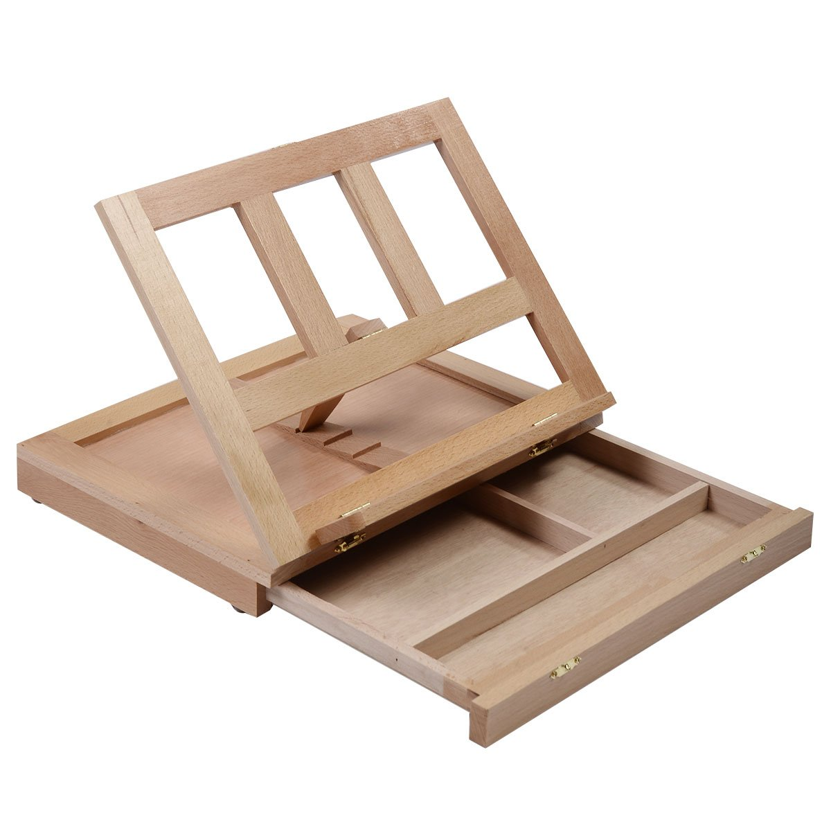 Costway Artist Easel Art Drawing Painting Wood Table Sketching Box Board Desktop Durable (Push and Pull Easel)