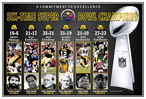 PosterWarehouse2017 PITTSBURGH STEELERS - WINNERS OF 6 SUPER BOWL TITLES - COMMEMORATIVE POSTER