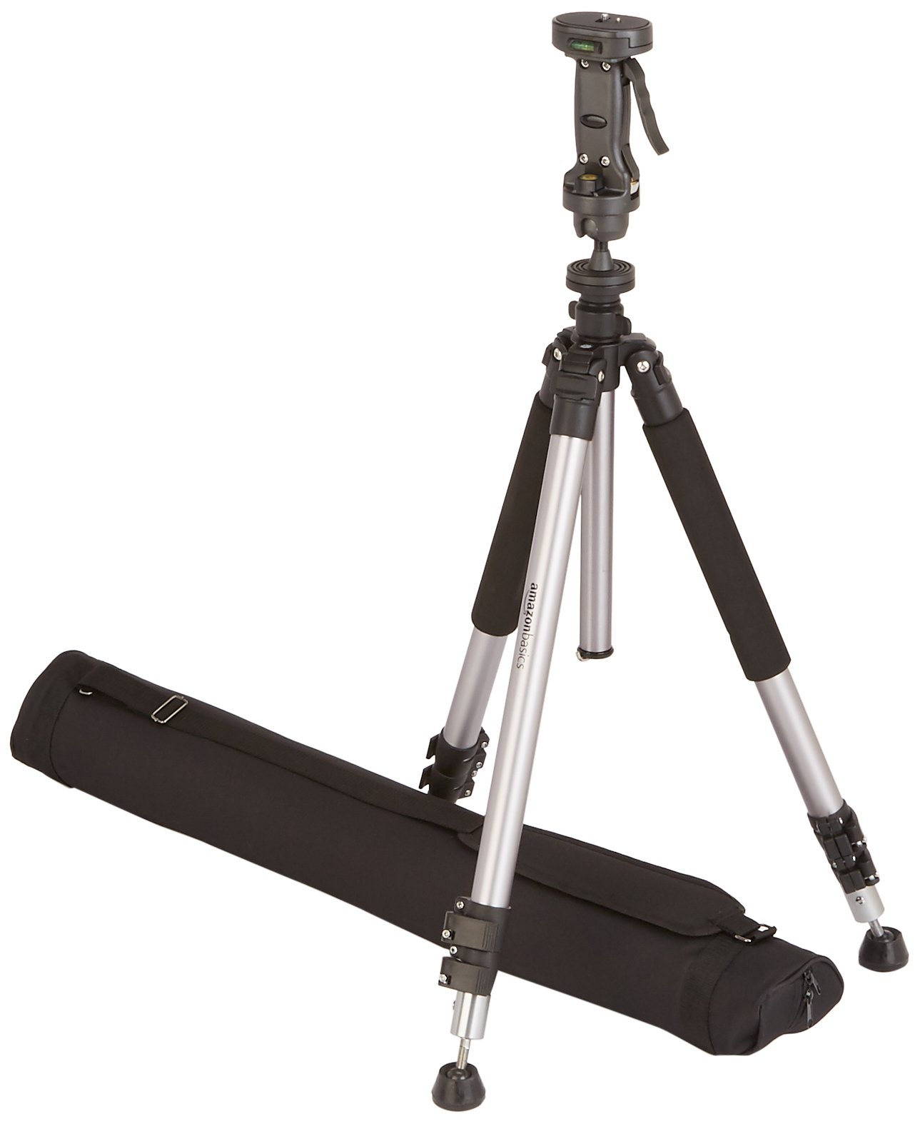Amazon Basics Pistol Grip Camera Travel Tripod With Bag - 34.4 - 72.6 Inches, Black