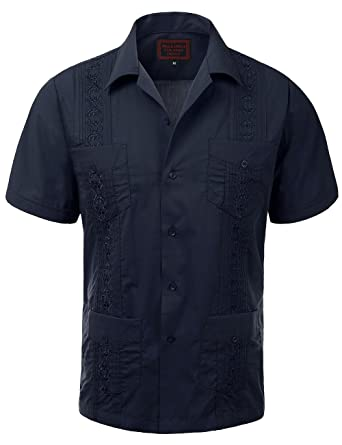 8a856fb9 Maximos Guayabera Mens Haband Cuban Wedding Short Sleeve Button-up Shirt  Navy-s