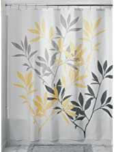 "InterDesign 35600 Leaves Fabric Shower Curtain - Standard, 72"" x 72"", Gray/Yellow"
