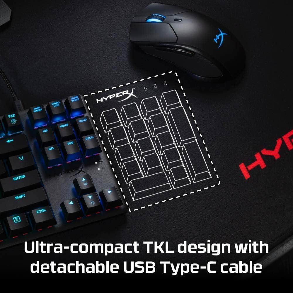 HyperX HX-KB7AQX-US Alloy Origins Core, Teclado Mecánico para Juegos RGB, Tenkeyless (87 keys), Interruptores HyperX Aqua, (QWERTY - US Layout)