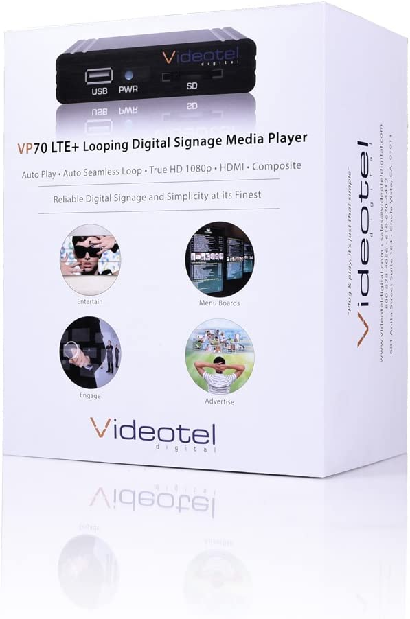 Auto Starts Compact /& Reliable 24//7 for Rugged Use Premium Industrial Grade Digital Signage Media Player Auto Plays /& Auto Seamlessly Loops Video and Image Files plus Videotel Digital VP70 LTE