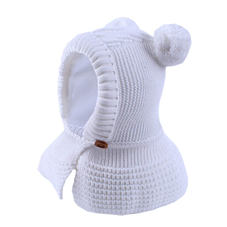 Baby Boys Girls Winter Knit Hat Cloak Scarf Shawl Kids Infant Cute Ears Fleece Lining Warm Hood Hat