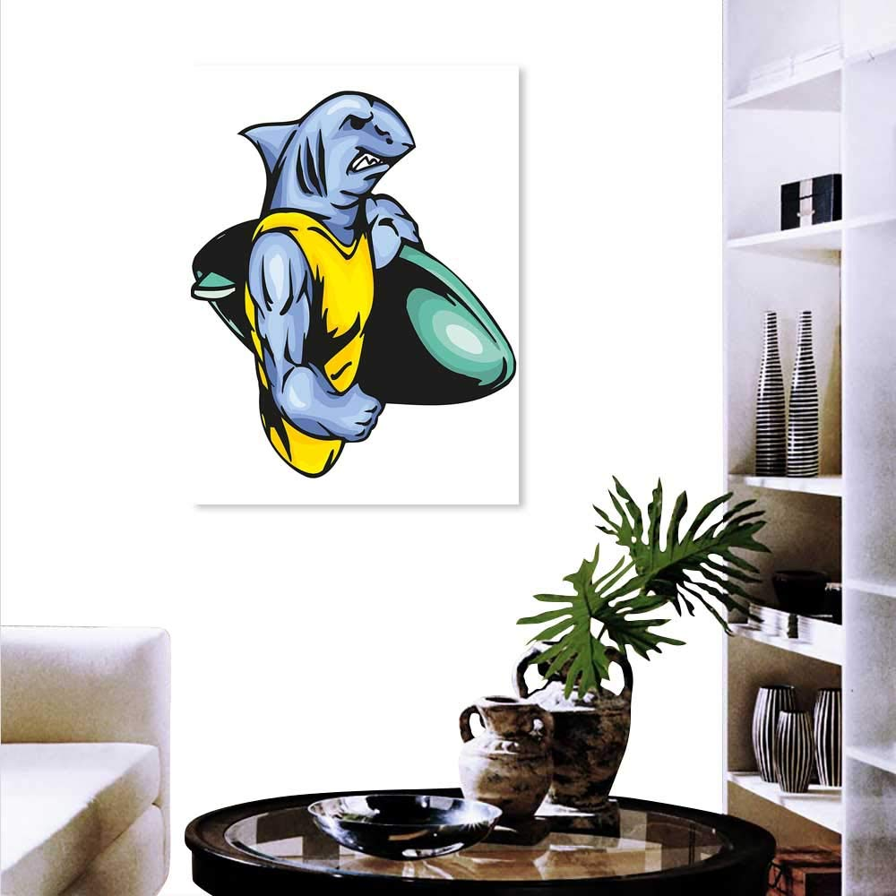 Pleasant Amazon Com Shark Art Canvas Prints Grumpy Surfer Shark Evergreenethics Interior Chair Design Evergreenethicsorg