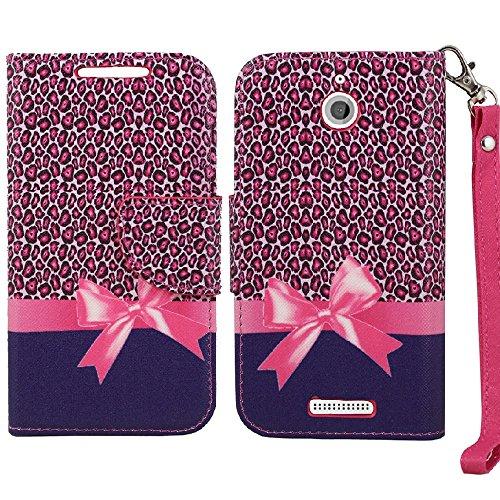 Desire 510 Case, SOGA PU Leather Magnetic Flip Design Wallet Case for HTC Desire 510 - Pink Leopard Ribbon Gift [SWE83]