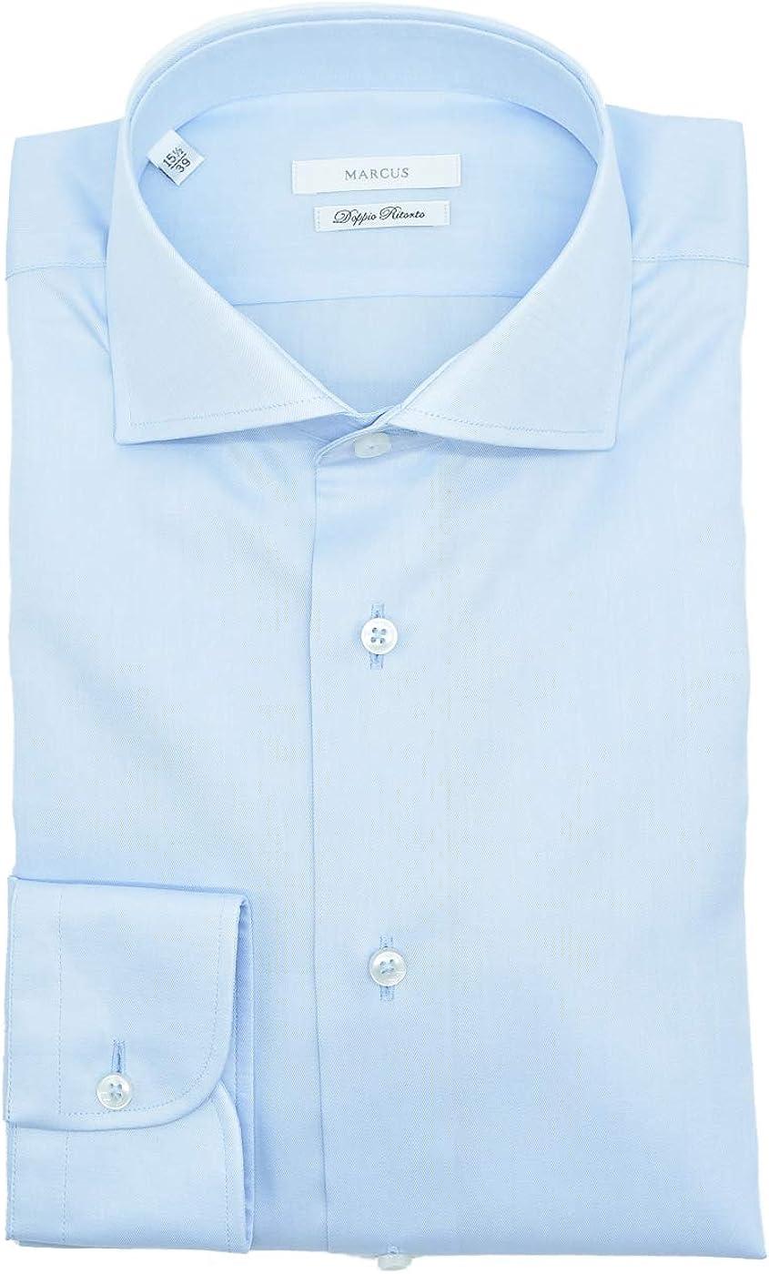 Marcus - Camisa para hombre, color celeste de algodón: Amazon ...