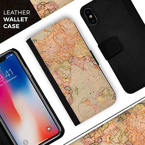 The Western World Map iPhone Leather Folding Credit Card / Wallet Case - IPhone 8+ or 7+