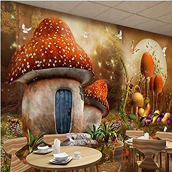BZDHWWH 3D-Fee Fantasy Pilze Haus Tapete Kinderzimmer Hintergrund ...
