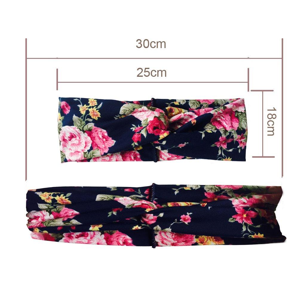DRESHOW 4 St/ück Damen Elastische Blume Gedruckt Stirnb/änder 1950 Archaistisch Frauen Baumwolle Gestrickte Verdrehte Weiche Turban-Kopf-Verpackungs