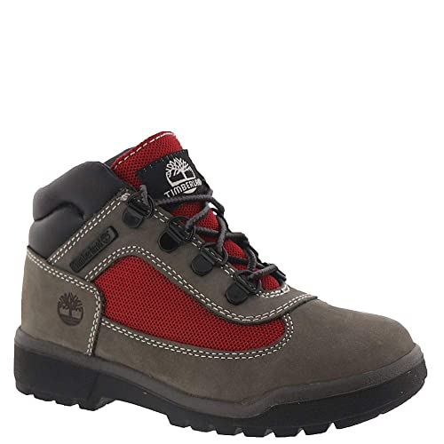 red and black timberland field boots
