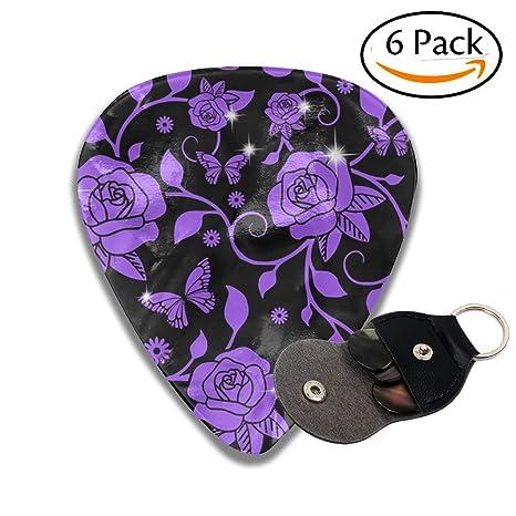Púas para guitarra con diseño de hojas de rosas moradas y mariposas 351 (6 unidades