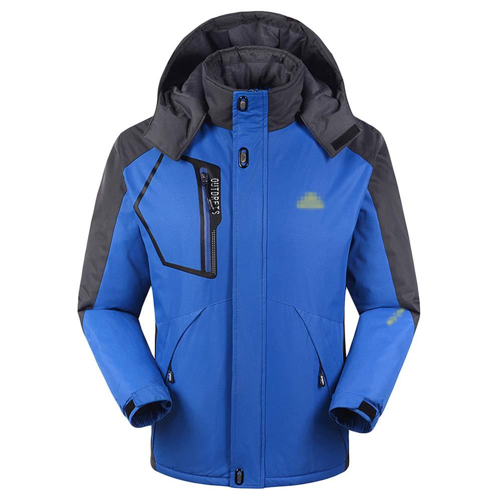 NDHSH Herren wasserdichte Winddichte Jacken Berg Camping Wandern Kleidung Jacken Fleece Winter Outdoor Mantel Mit Kapuze Ski Jacken,Blue-3XL