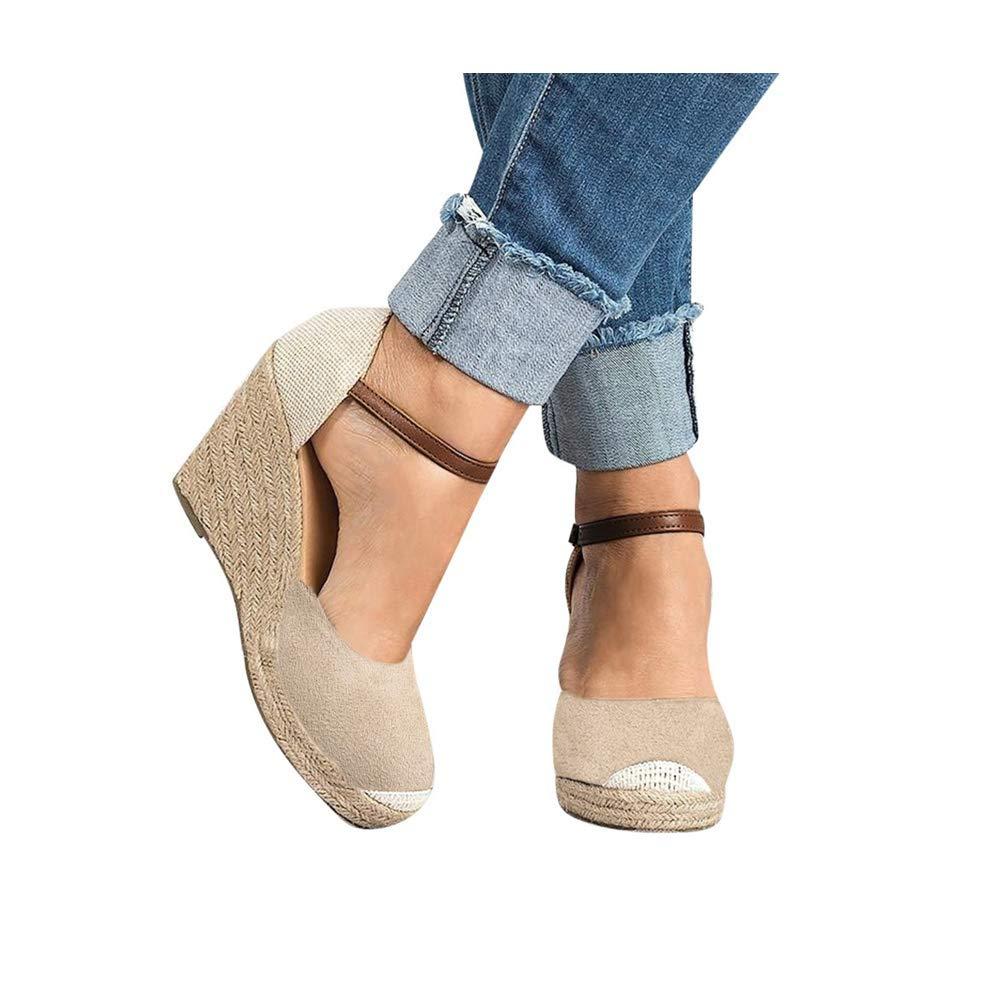 Women Wedge Sandals, Women's Peep Toe Ankle Strap Buckle Espadrille Summer Flatform Shoes (US:9.0, Beige) by sweetnice Women Shoes
