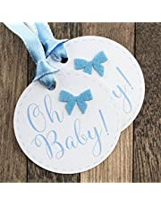 Summer-Ray 50pcs Baby Shower Favor Gift Tags (Oh Baby Blue)