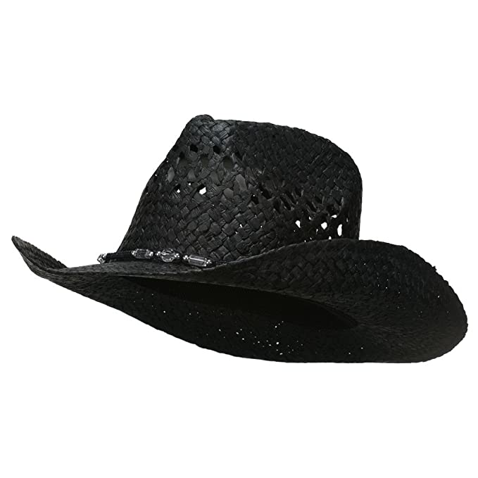 2893ce40217339 MG Womens Straw Outback Toyo Cowboy Hat, Black at Amazon Women's ...
