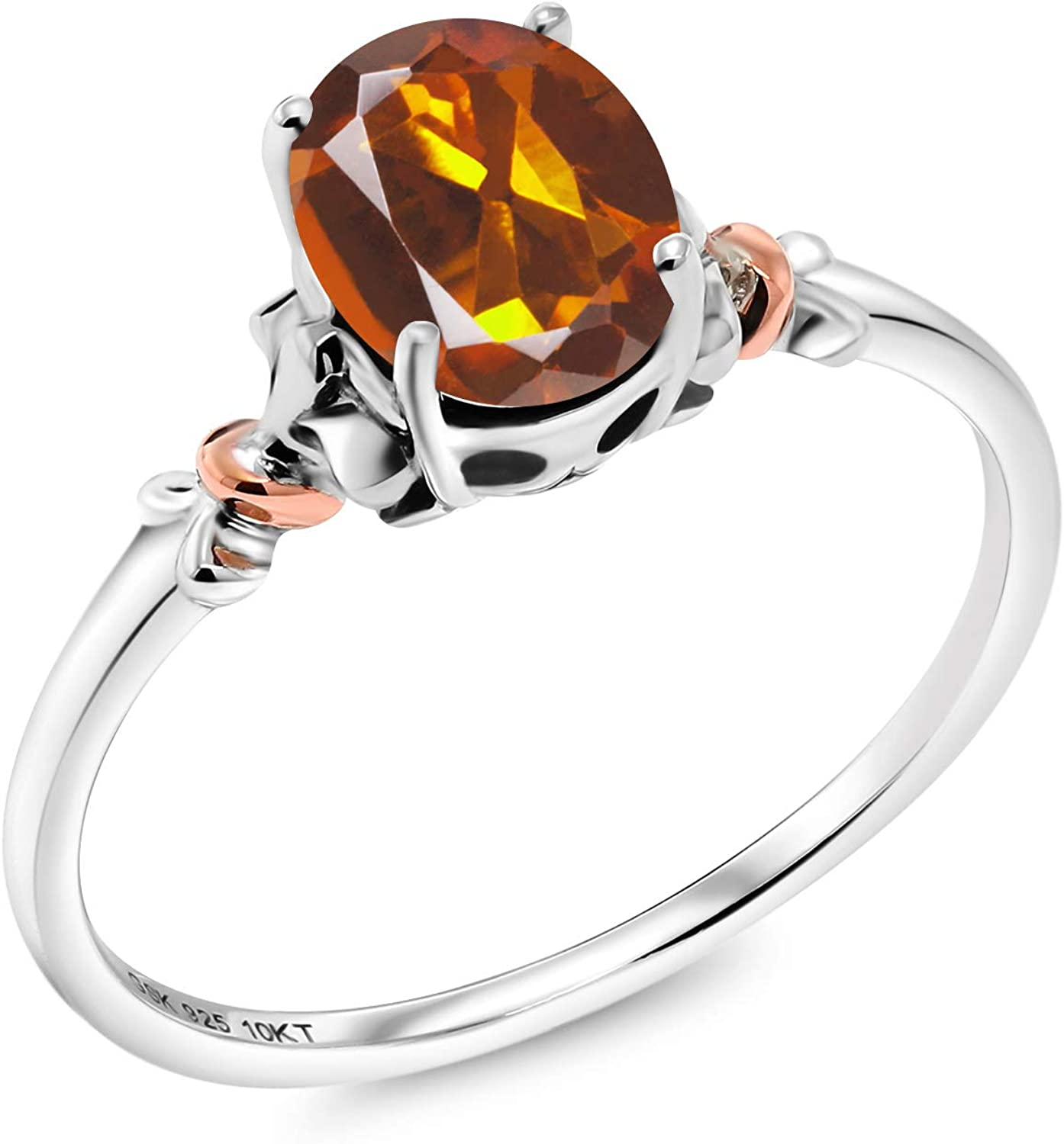 Orange Quartz Oval Cut Checkerboard Sterling Silver Gold Dipped Statement Solitaire Ring