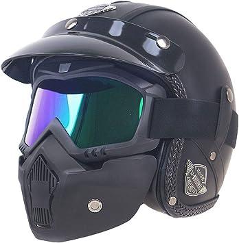 Noman Harley Jet Helme Aus Pu Leder 3 4 Motorrad Chopper Fahrradhelm Offenes Gesicht Vintage Motorradhelm Dot Standard Mit Goggle Maske M L Xl Sport Freizeit