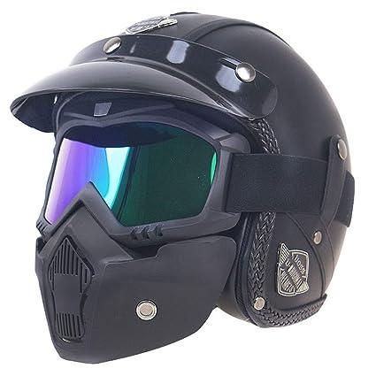 NOMAN Cascos de Cuero Harley Jet de PU, Casco de Motocicleta Chopper 3/4