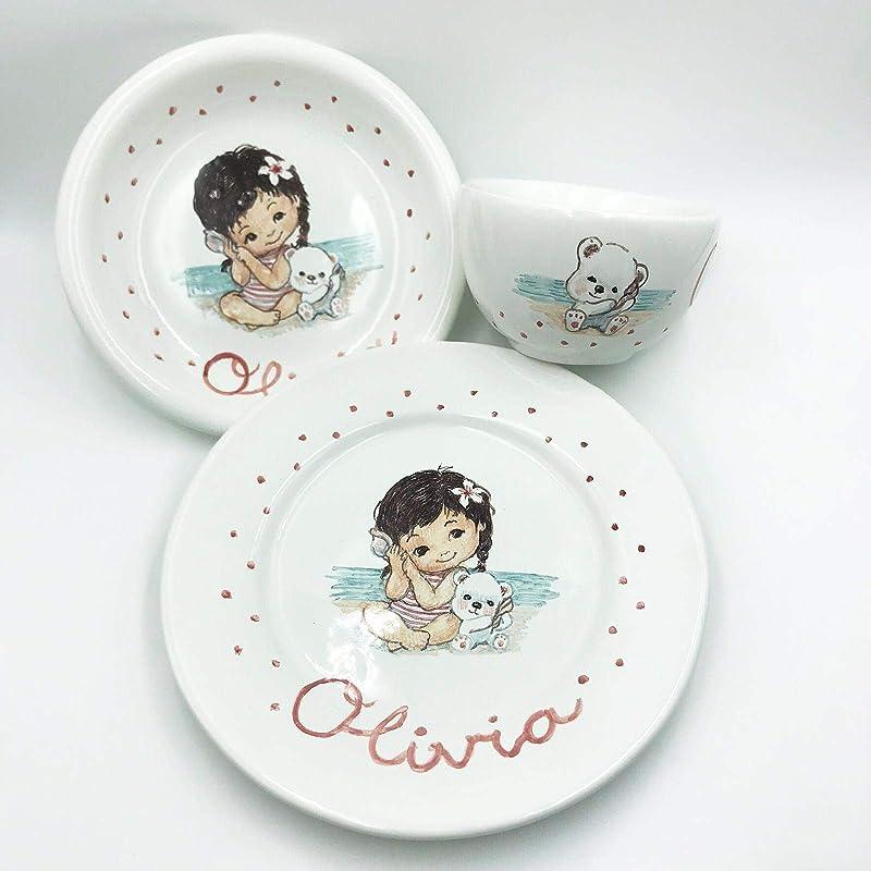 Vajilla Personalizada Bebé infantil para niña hecho en cerámica ...