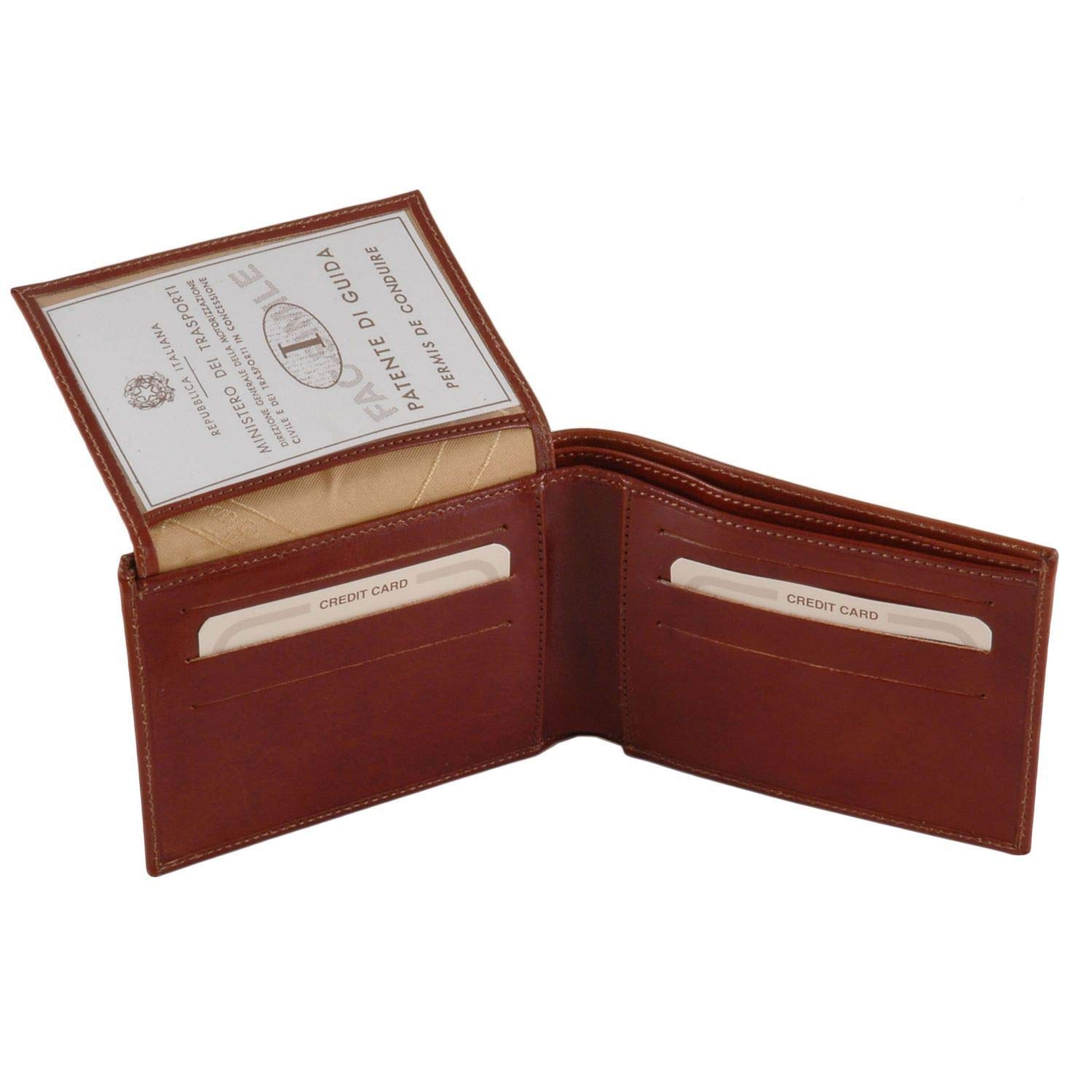 Tuscany Leather Exclusive leather 3 fold wallet for men Brown