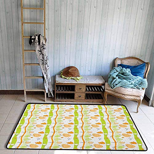(Custom Rug,Abstract Cartoon Style Floral Pattern with Vertical Stripes Background,Large Area mat,3'11