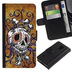 Stuss Case / Funda Carcasa PU de Cuero - Cráneo Pulpo floral púrpura del oro - Samsung Galaxy S5 V SM-G900