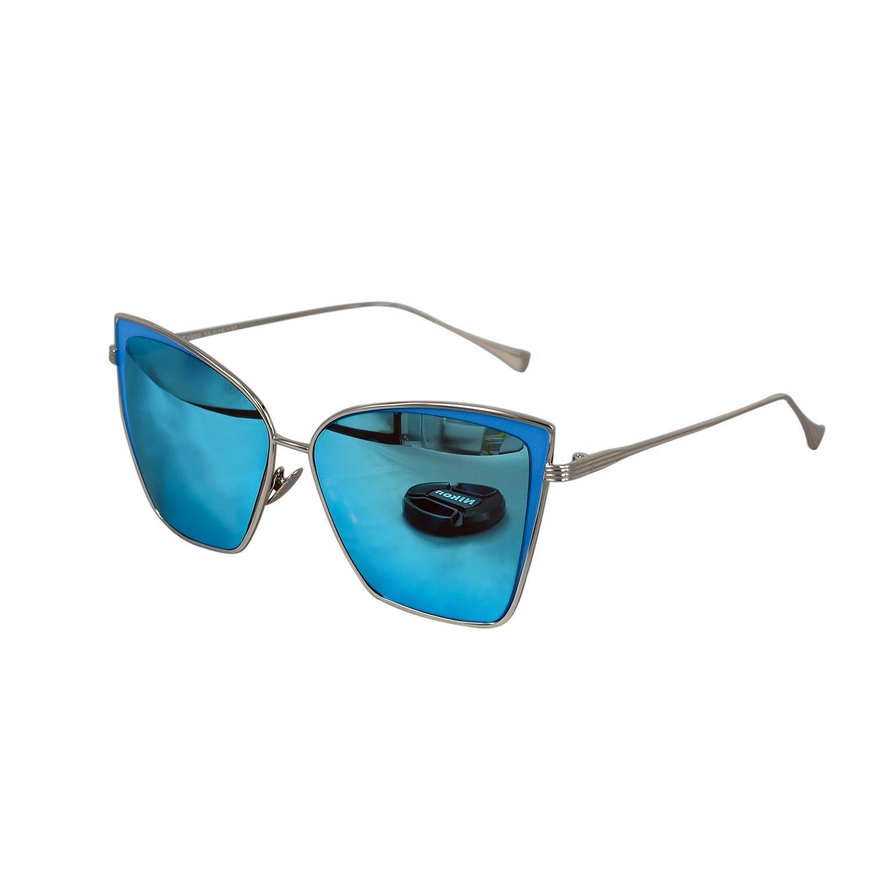 Ucspai Cateye Overside Sunglasses in Blue Mirrored Lens