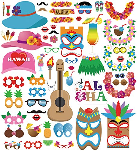 [60pcs Luau Photo Booth Props - Hawaiian/Tropical/Tiki/Summer Pool Party Decorations Supplies] (Party Decoration Items)
