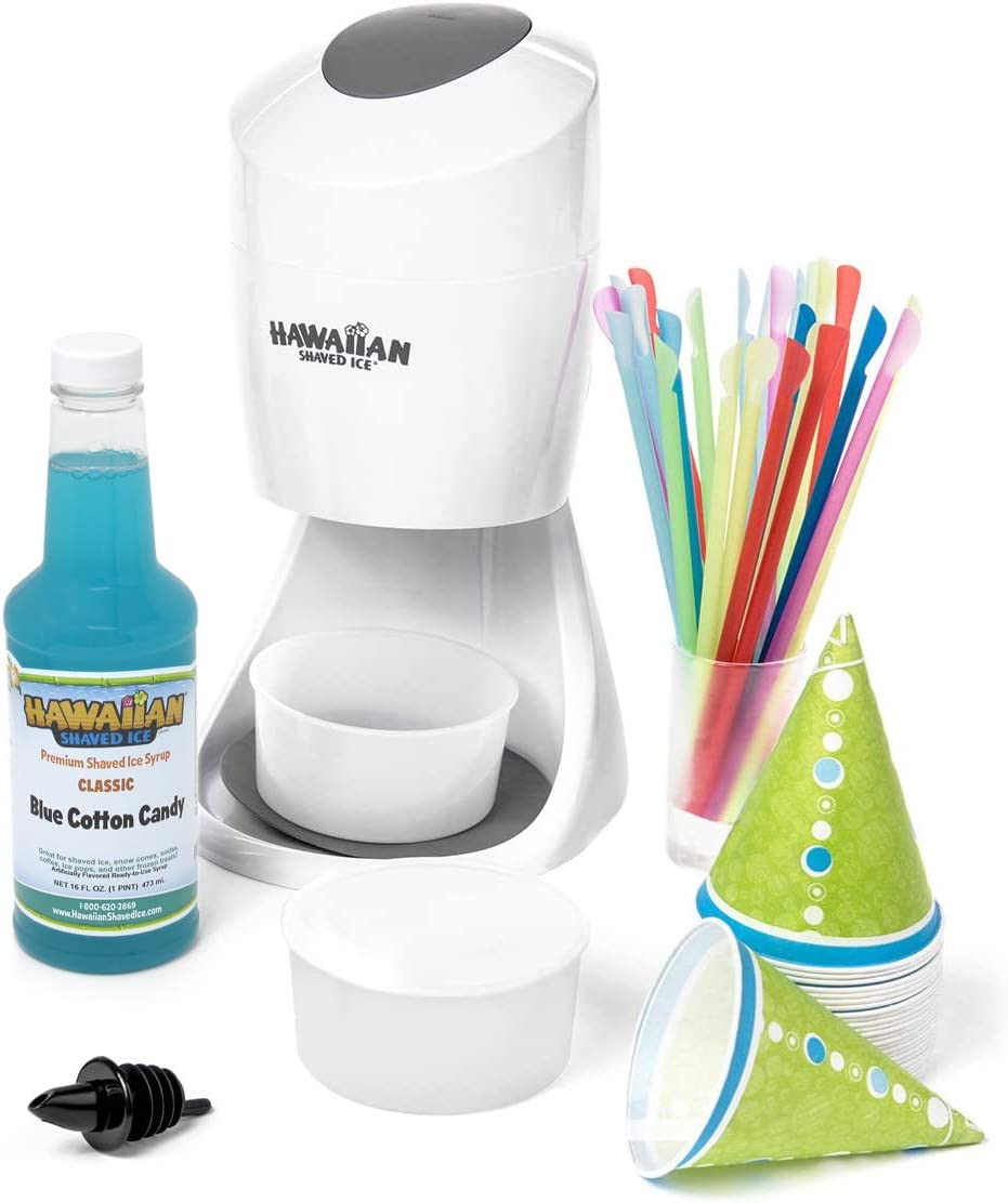 Hawaiian Shaved Ice S900A Shaved Ice & Snow Cone Machine with Blue Cotton Candy Flavored Syrup and Accessories
