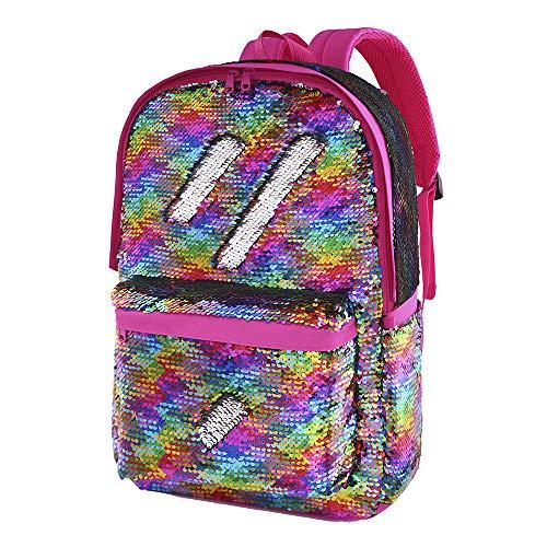 Flip Glitter Mermaid School Bag Magic Reversible Sequin Backpack for Girls (COLORFUL)