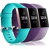 Wepro Bandas impermeables compatibles con Fitbit Charge 3 y Charge 3 SE, 3 unidades de repuesto para damas, hombres, tamaño p