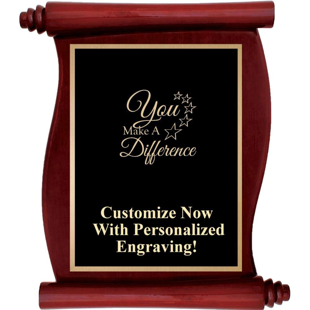 Custom Engraved Rosewood Scroll Plaques, Personalized You Make A Difference Plaque Award with Up to 5 Lines of Engraving Included Prime by Crown Awards