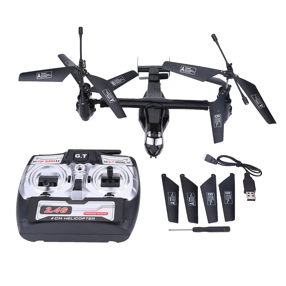 Black Dilwe RC Helicopter Model, 2.4G 4.5CH Dual Motors Dual Gyroscope Remote Control Airplane Helicopter RC Aircraft Vehicle(Silver)