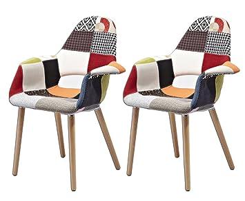 Meubletmoi Lote de 2 sillones en Tela Patchwork, Patas de ...