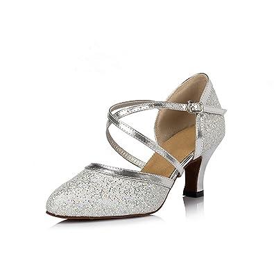 misu  Damen Tanzschuhe Silber silber
